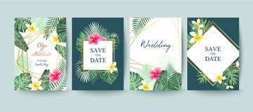 Summer card. Save the date. Palm leaves. Summer card design. Save the date. Exotic tropic palm leaves and flowers vector illustration