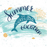 Summer card with dolphin Stock Photography