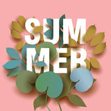 Summer Card with elements of plants on pink background. Royalty Free Stock Images