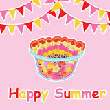 Summer card with fruit salad and colorful flag Stock Photography
