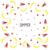 Summer card. Fruits design with yellow bananas, watermelon and strawberries. Summer card. Fruits design with yellow bananas, watermelon and juicy strawberries on Stock Photos
