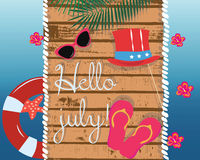 Summer Card with glasses and flipflops Royalty Free Stock Photography