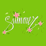 Summer card on green background with flowers.  Floral banner. Summer banner illustration. Summer banner design. Summer season, sum. Summer card on green Royalty Free Stock Photography