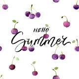 Summer card with hand drawn lettering and watercolor cherries - Hello summer. Stock Images