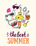 Summer card with hand drawn stylish lettering - 'the best summer' Royalty Free Stock Photos