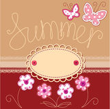 Summer card with laces, butterflies and flowers Stock Photos