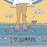 Summer card with legs in the sea Royalty Free Stock Photo