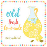Summer card with lemonade and text. Cold Fresh Lemonade. Lemon, jug, ice and lettering. Royalty Free Stock Photo