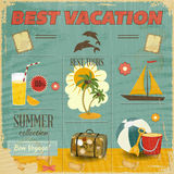 Summer Card in retro Style Stock Photography