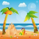 Summer card with sand castle,  Royalty Free Stock Image