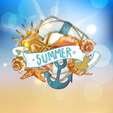 Summer Card with Sea Shells, Anchor, Lifeline Royalty Free Stock Photography
