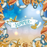 Summer Card with Sea Shells, Anchor, Lifeline Royalty Free Stock Photo
