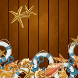 Summer Card with Sea Shells, Anchor, Lifeline Stock Images