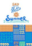Summer card. Seamless pattern. Hand drawn doodles Stock Images
