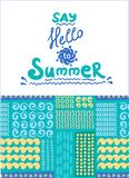 Summer card. Seamless pattern. Hand drawn doodles Stock Photos