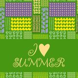 Summer card. Seamless pattern. Hand drawn doodles Royalty Free Stock Photo