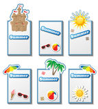 Summer card set with stickers Stock Photography