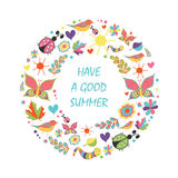 Summer card in the shape floral wreath on white background Stock Images