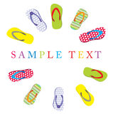 Summer card with slippers Royalty Free Stock Photography