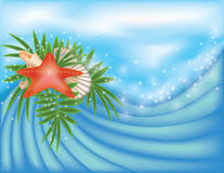 Summer card with starfish and palm Stock Images
