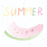 Summer card with watermelon - watercolor artistic Stock Photography