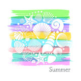 Summer card with white sea shells stock illustration