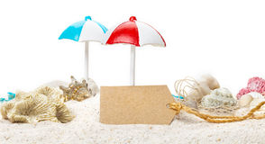 Summer, cardboard sign, beach Stock Image