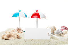 Summer, cardboard sign, beach Royalty Free Stock Photos