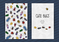 Summer cards with funny insects. Royalty Free Stock Photography