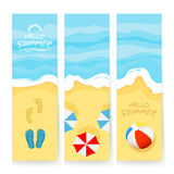 Summer cards with sea and sandy beach Stock Photos