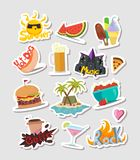 Summer cartoon colorful stickers and labels set stock illustration