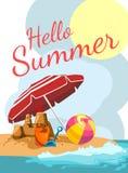 Summer cartoon postcard. Beach of toys and umbrella Stock Photo