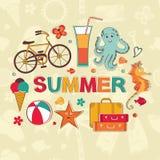 Summer cartoon set Stock Photography