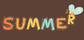 Summer cartoon text with butterfly Royalty Free Stock Image