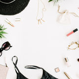 Summer casual style. Frame of modern woman clothes and accessories collage. Royalty Free Stock Image