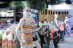 Summer casual wear in taipei sport clothing shop Stock Photos