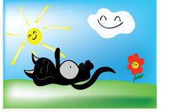 Summer cat. Vector image of funy summer cat Stock Photo