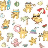 Summer cat seamless pattern background vector illustration