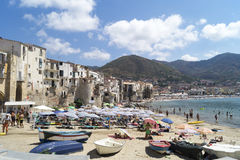 Summer in cefalu royalty free stock photography