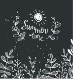 Summer chalk background with herbs and sun Royalty Free Stock Photos