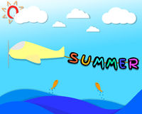 Summer character hang on the rope that bind be hide the airplane. airplane flying over the sea in the sky with cloud and sun . Summer season. picture for kids Stock Images