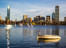 Summer on the Charles River. Sailing on the Charles River during the summer in Boston Massachusetts Royalty Free Stock Image