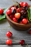 Summer cherry in small bowl Stock Photos