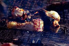 Summer chicken. Part legs grilled on picnic time. Roasted royalty free stock images