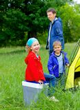 Summer child camping in tent Royalty Free Stock Photography