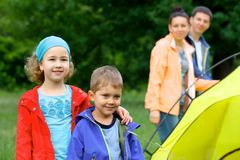 Summer child camping in tent Stock Photo