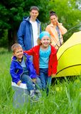 Summer child camping in tent Royalty Free Stock Photo