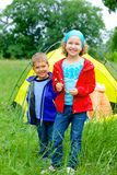 Summer child camping in tent stock images