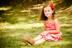Summer child portrait of smiling pretty young girl Stock Photo
