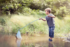 Summer childhood. Boy in a pond with a fishing net catching fish in the summer sun concept for childhood, healthy lifestyle and vacation Stock Photo